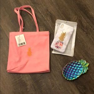 pineapple themed bag, iphone x case, and ring dish